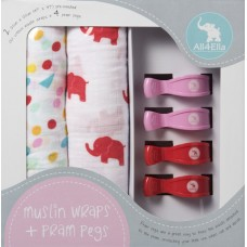 2 Pack Muslin Wraps & 4 Pram Pegs - Red Elephant and Spots